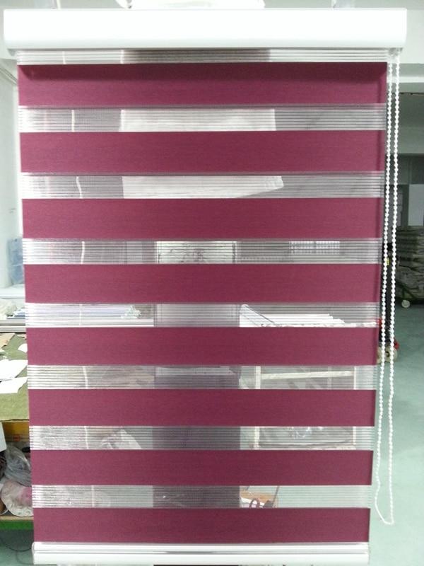Rouleau zèbre stores 100% Polyester translucide en violet foncé rideaux de fenêtre sur mesure pour salon 30 couleurs