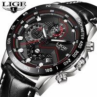Relogio Masculino LIGE męskie zegarki Top marka luksusowa wodoodporna moda zegarek kwarcowy mężczyźni Casual data skórzany zegarek sportowy na rękę