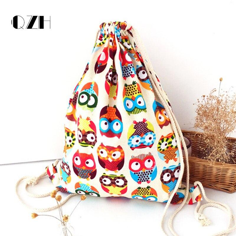 Qzh Women Canvas 3d Owl Printing Drawstring Backpack Shopping Bag College Students School Girls Feminina Sack Bag Backpacks
