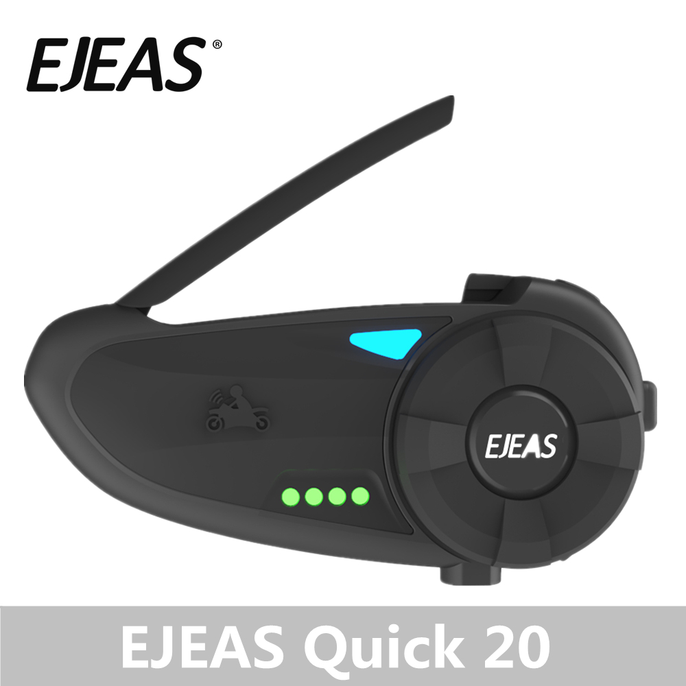 EJEAS Quick20 Bluetooth 4.2 Motorcycle Intercom Headset Raid Pair 1.2km With FM Radio Turntable Battery Indicator For 2 Riders