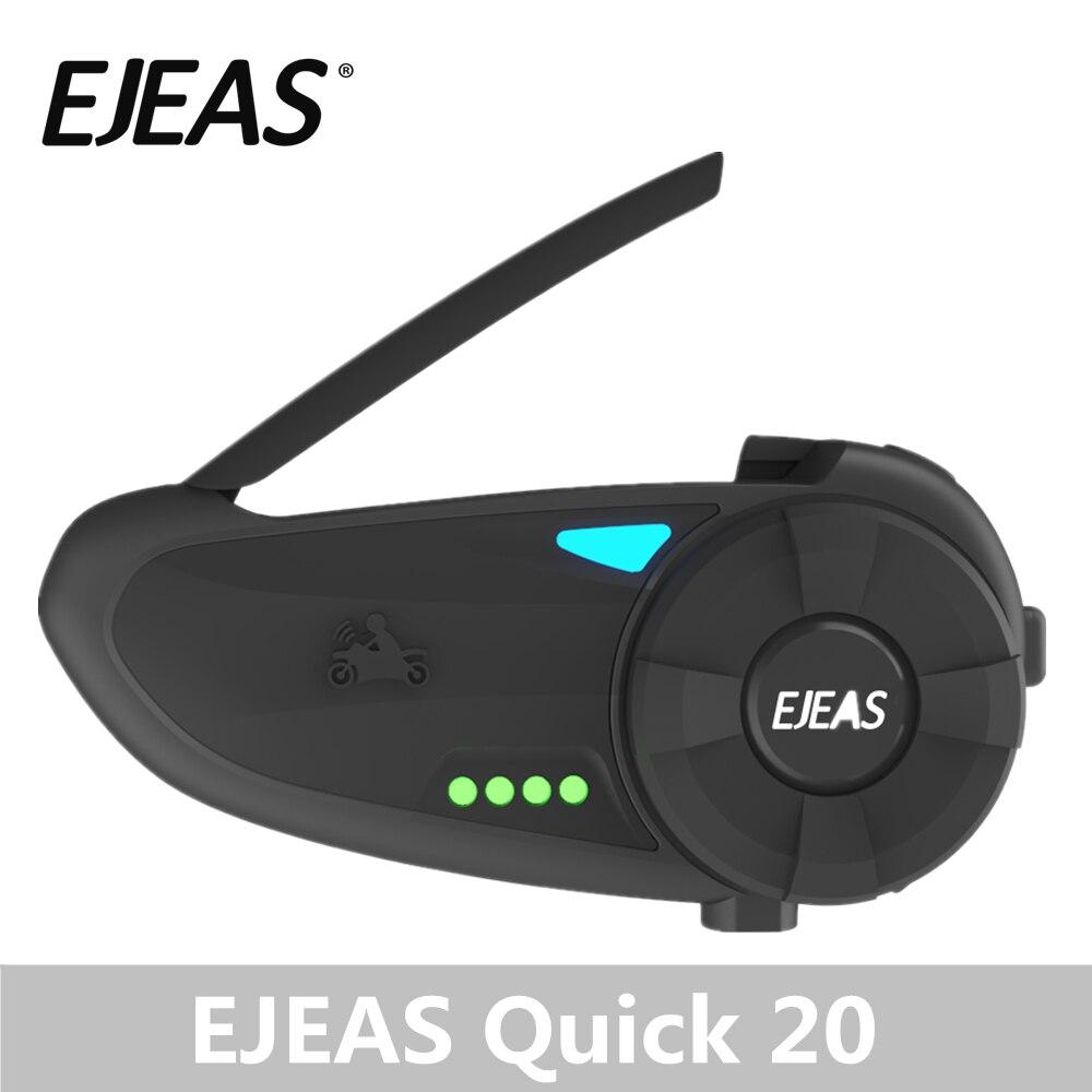 EJEAS Quick20 Bluetooth 4.2 casque interphone moto paire Raid 1.2 km avec Radio FM platine vinyle indicateur de batterie pour 2 coureurs