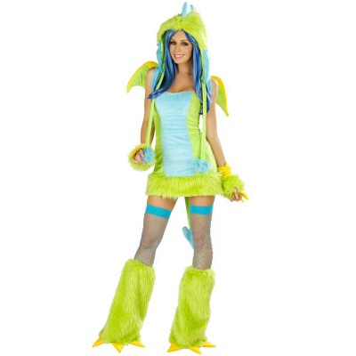 Animal Dinosaur Faux Fur DS Costume Women Halloween Fancy Party Dress Carnival Sexy Cosplay Outfits 80502