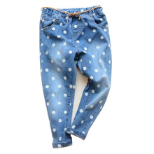 Fashion Casual Polka Dot Denim Baby Girl's Jeans