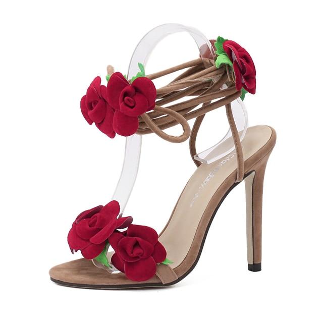 3D Flower Rose Decro Sandals Brand Design Bandage Lace Up Simple Sandals Narrow Band Slingback High Heel Pumps Women Stilettos