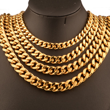 Granny Chic Top Polished Necklace Mens Chain 316L Stainless Steel Cut Curb Cuban Link Gold Tone 9/11/13/15 mm Wide
