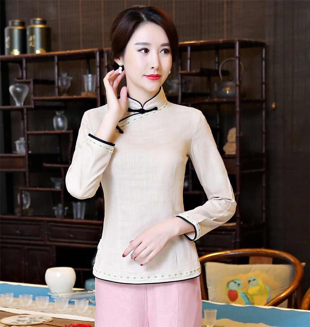 Shanghai Cerita Cina Berdiri Kerah Kemeja wanita cina tradisional top Lengan Panjang cheongsam Cina atas Linen blus