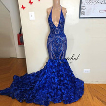 PEORCHID Flower Mermaid Prom Dress Royal Blue Halter