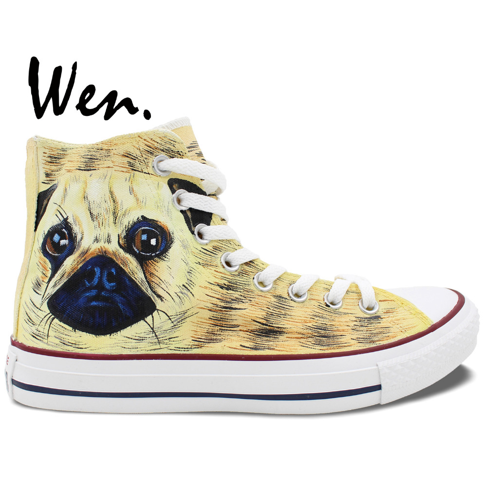 Wen Hand Painted Shoes Original Design Custom Pet Dog Pug High Top Yellow Canvas Sneakers Men Women's Birthday Gifts wen unisex hand painted shoes original custom design sunset sunflower women men s high top canvas shoes sneakers christmas gifts