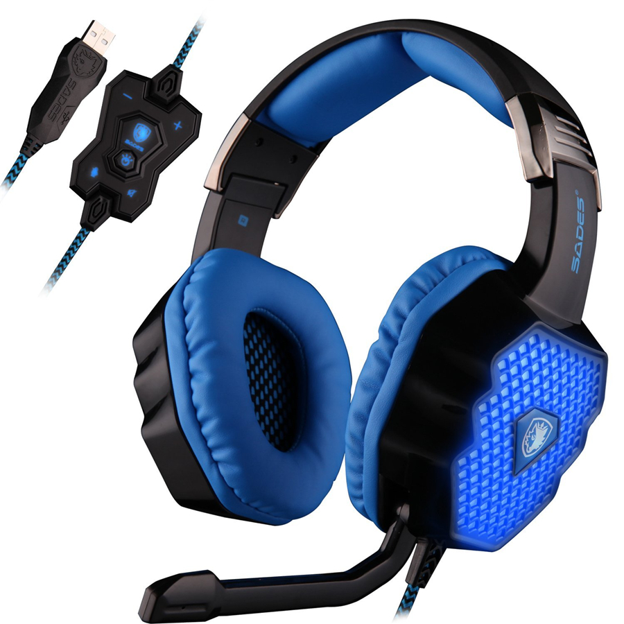 SADES A70 USB 7.1 Surround Sound Stereo PC Gaming Headphones with Volume Control Breathing LED Light Headsets for Computer Gamer стоимость