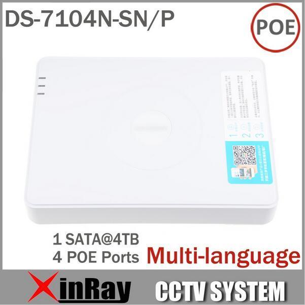 Multi-idioma CCTV 4CH POE NVR DS-7104N-SN/P para Suporte de Vigilância Câmera IP POE com 4 Portas Ethernet Sistema de segurança