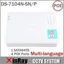 Multi-language CCTV 4CH POE NVR DS-7104N-SN/P de Vigilancia Soporte POE Cámara IP con 4 Puertos Ethernet Sistema de seguridad