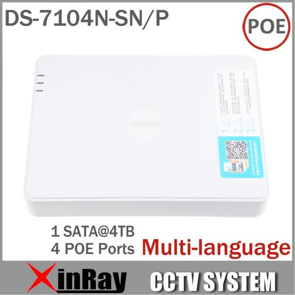 Multi language CCTV 4CH POE NVR DS 7104N SN P for POE IP font b Camera