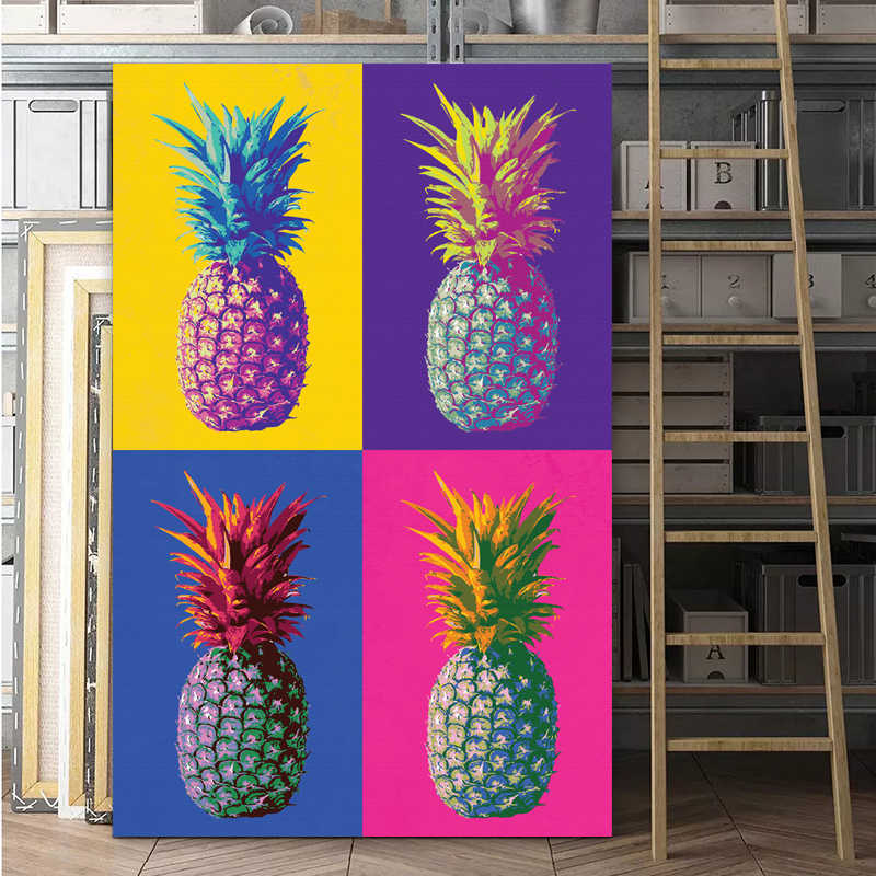 POP Art Colorful Pineapple Oil Painting Andy Warhol Poster Print Canvas Painting for Living Room Home Decor Wall Art