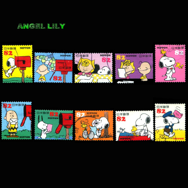 10 PCS Set Japanese Used Cartoon Snoopy Postage Stamps For Collecting A0285