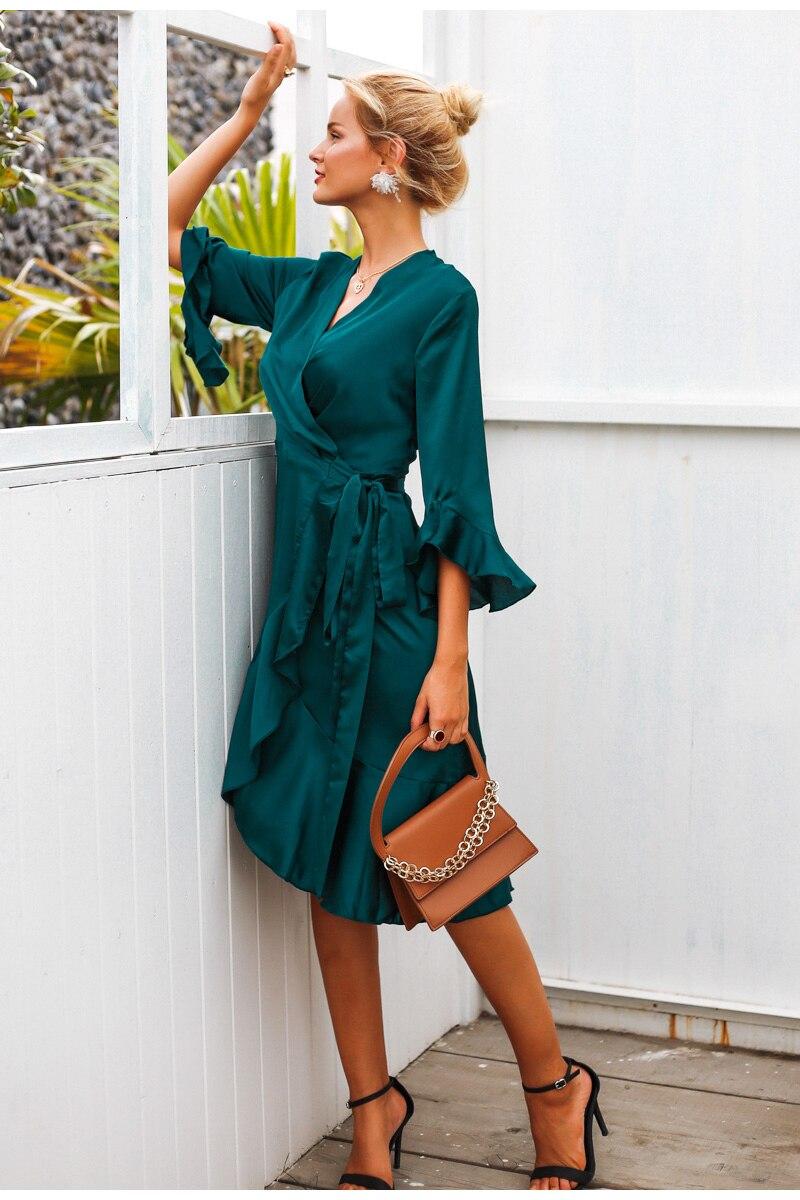 Elegant Women Sexy Wrap Dress