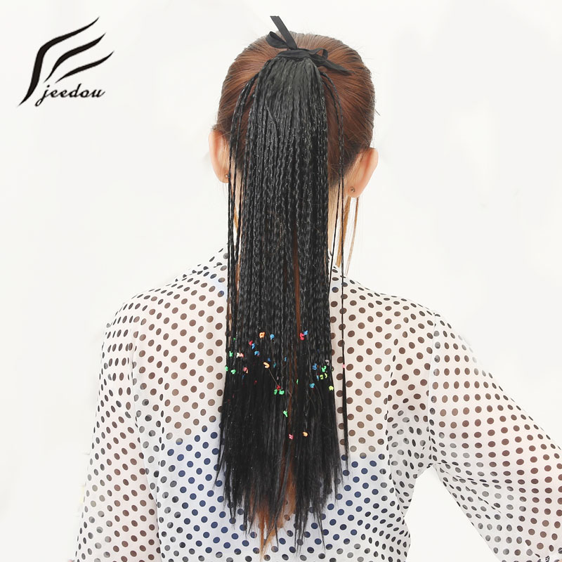jeedou Straight Braids Ponytail Ribbon Drawstring Ponytails Synthetic Black Brown 100g 45cm Hair Extensions Full of personality