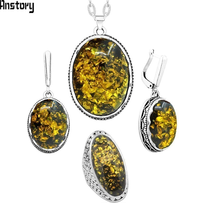 Oval Green Flower Simulated Ambers Jewelry Set Necklace Earring Ring Antique Silver Plated Pendant Stainless Steel Chain Jewelry