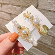 цены Women Vintage Gold Plated Metal Shell Starfish Hollow Out Flower Hair Clips Decorated With Pearls and Rhinestones Duck Clips