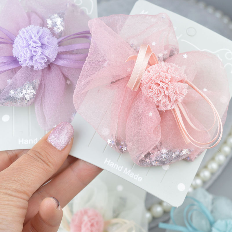 Princess Lace Hair Clips With Bling Stars Hairpins For Girls Glitter Knot Hair Bows Fashion Kids   Headwear   Hair Accessories A305