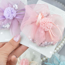 Princess Lace Hair Clips With Bling Stars Hairpins For Girls Glitter Knot Bows Fashion Kids Headwear Accessories A305
