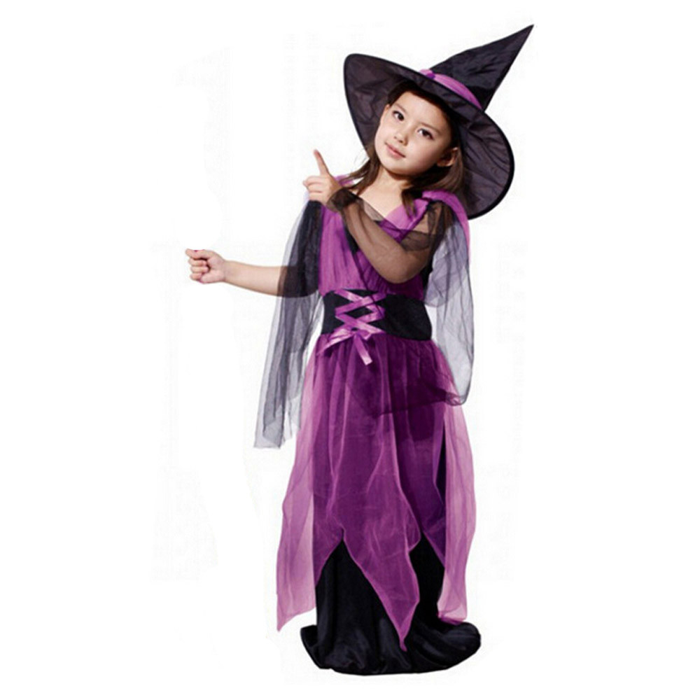 Kids Girls Clothes Toddler Halloween Costume Girls Halloween Dress Party Dresses+Hat Outfit Set