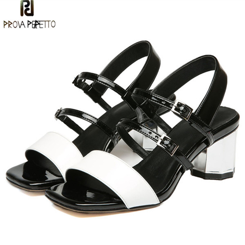 Prova Perfetto Fashion Real Leather Gladiator Sandals Women Mix White Buckle Strap Woman Sandals Open Toe Strange Heel Sandals prova perfetto 2018 summer new style comfort woman sandals all match real leather thick heel butterfly knot fashion sandals