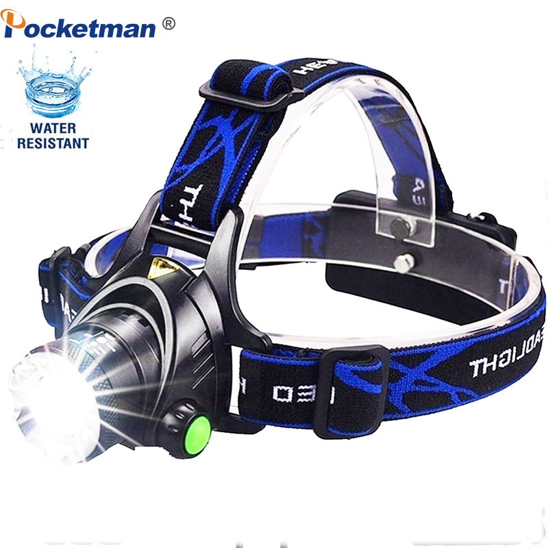Rechargeable T6/L2 Headlamp Zoomable Waterproof LED Head Lamp Q5 Flashlight Hands-free Torch For Hiking Camping Running