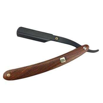 Mango de madera para vello Facial, afeitadora de barba, herramienta de afeitar, de acero inoxidable maquinilla de afeitar, maquinilla de afeitar de borde recto, afeitadora plegable, cuchillo, maquinilla de afeitar de peluquero