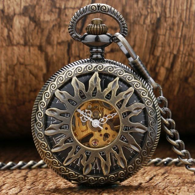 Fashion Cool Bronze Hollow Flower Sun Design Skeleton Mechanical Pocket Watch Wi