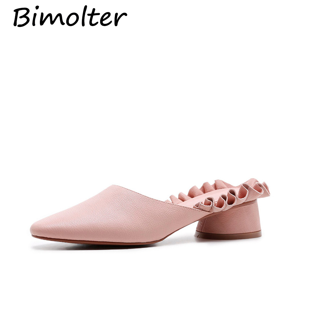 Bimolter Genuine Leather Slippers Woman Cow Leather Slippers Spring - Women's Shoes