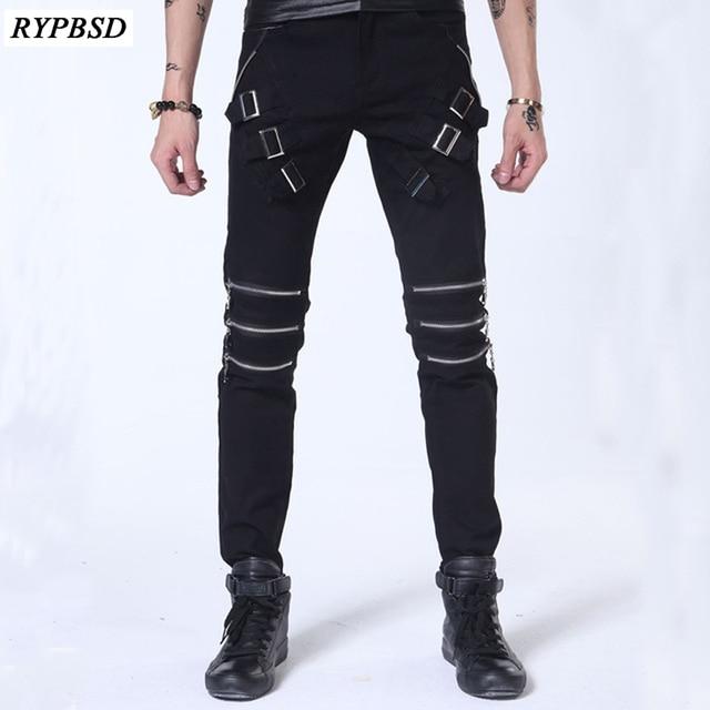 Pantalon 2018 Noir Blanc De Automne Punk Jeans Printemps Scène Luxe wZrwqpWOz6