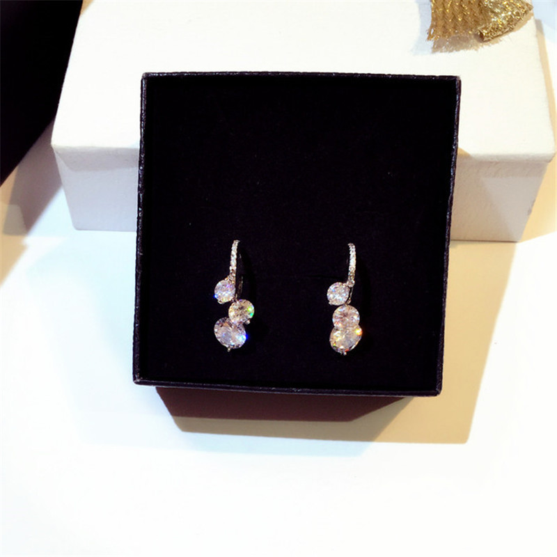 CX Shirling Luxurious Women New Korean Silver Needle Earrings For Female Zircon Earrings Women in Stud Earrings from Jewelry Accessories