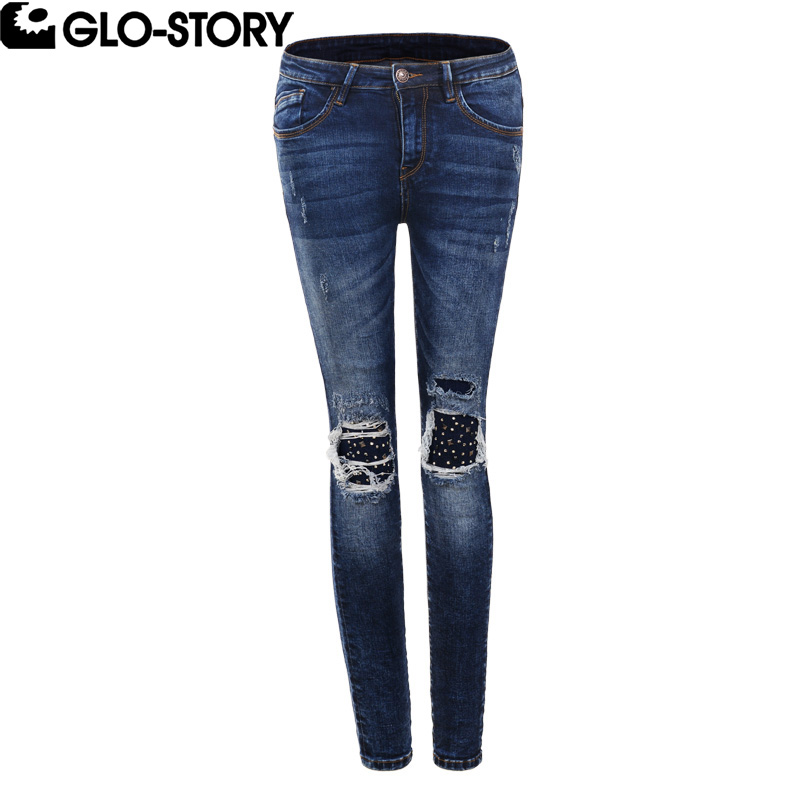 GLO-STORY Women High Street Fashion Skinny Ripped Jeans Woman Embroidered Flares Cotton Stretch Distressed Pencil Pants WNK-5581