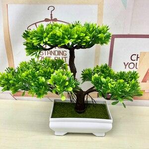 Image 5 - Gorące sztuczne kwiaty powitanie sosna Bonsai symulacja kwiaty ozdobne i wieńce fałszywe zielone rośliny doniczkowe Home Decor