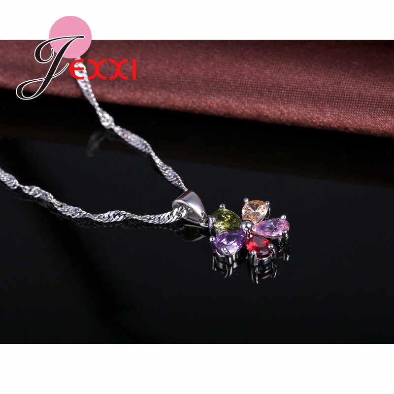 5Color CZ Flower 925 Sterling Silver Pendant Necklace Earrings Ear Sets Wedding Bridal Cubic Zirconia Crystal Jewelry Sets