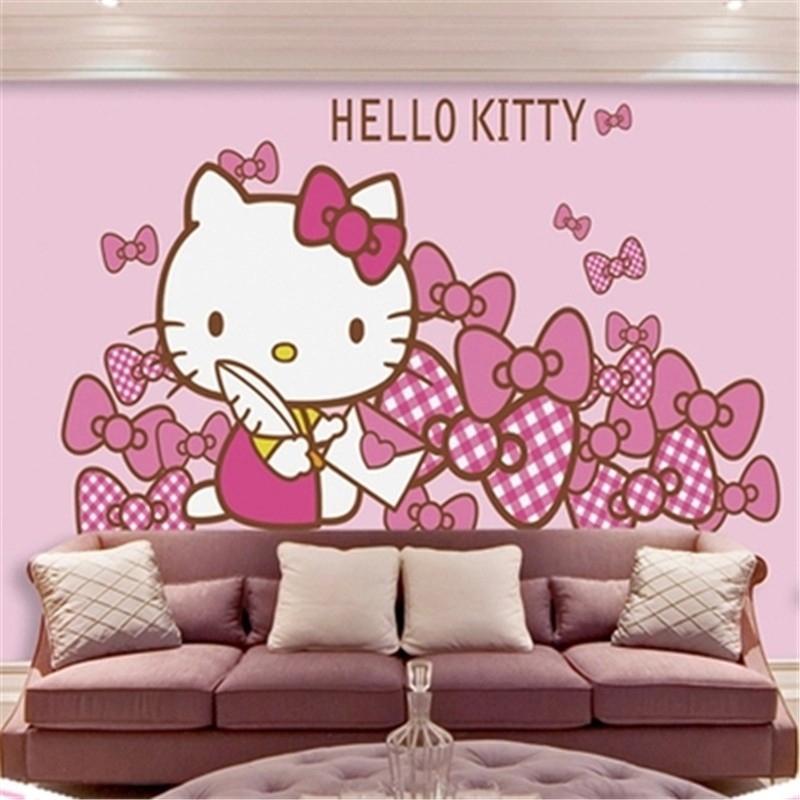 3D Large Mural Wallpaper Pink Cartoon Wall Custom Photo Hello Kitty Home Decor Paper Roll For Kids Room