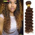 "Filipino Virgin Hair Deep Wave #2 Dark Light Brown Filipino Deep Wave 3 Bundles Filipino Curly Hair Weave Budles 8"" -28"""
