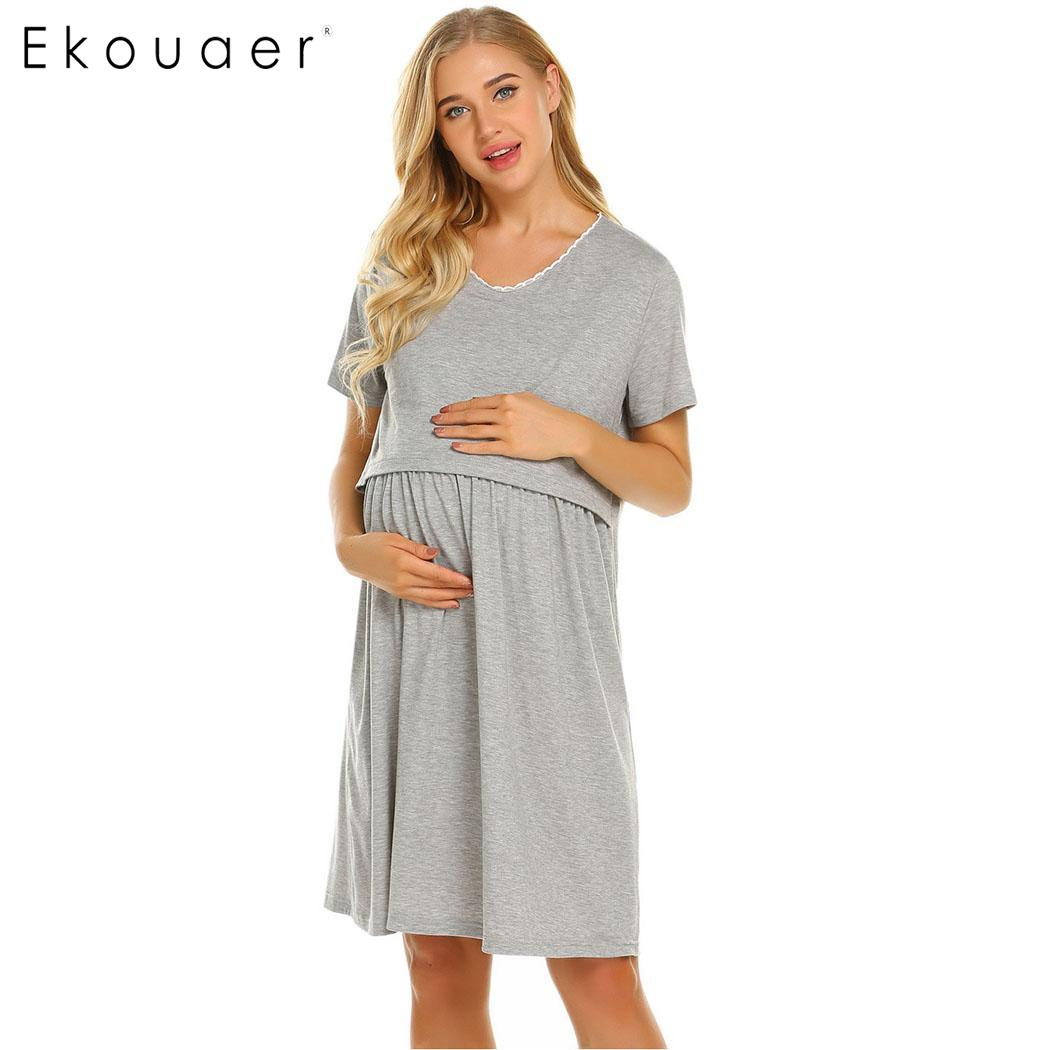 Ekouaer Women Nightgowns Soft Cotton Sleepwear Dress Casual Short Sleeve Two Layers Maternity Nursing Breastfeeding Nightdress