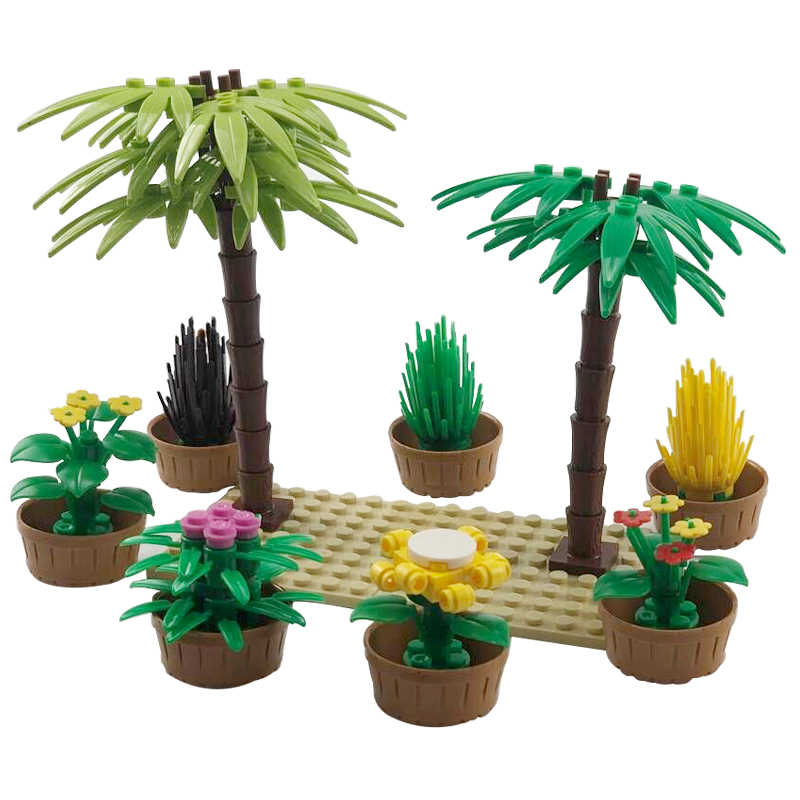 Creator City Big Tree Garden Accessories Building Block MOC Weapon DIY Green Bush Flower Grass Plants Toy Friend Creators Cities