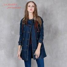Для женщин Тренч 2017 La mxapa Boho новые джинсовые Пальто и пуховики Сгущает Свободные съемный пояс отложным Colar пальто для Для женщин casacos