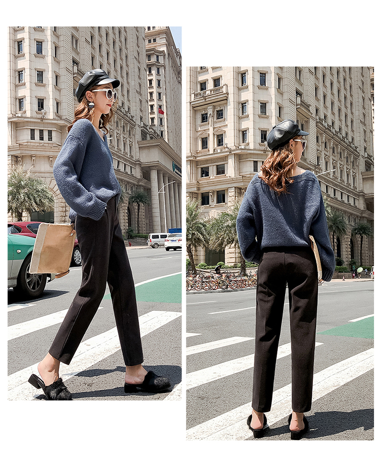 19 Autumn New Women Elastic Woolen Pant Female Plus Size Casual Trousers Black/Gray Harem Pants Winter Wool Ankle-Length Pants 29
