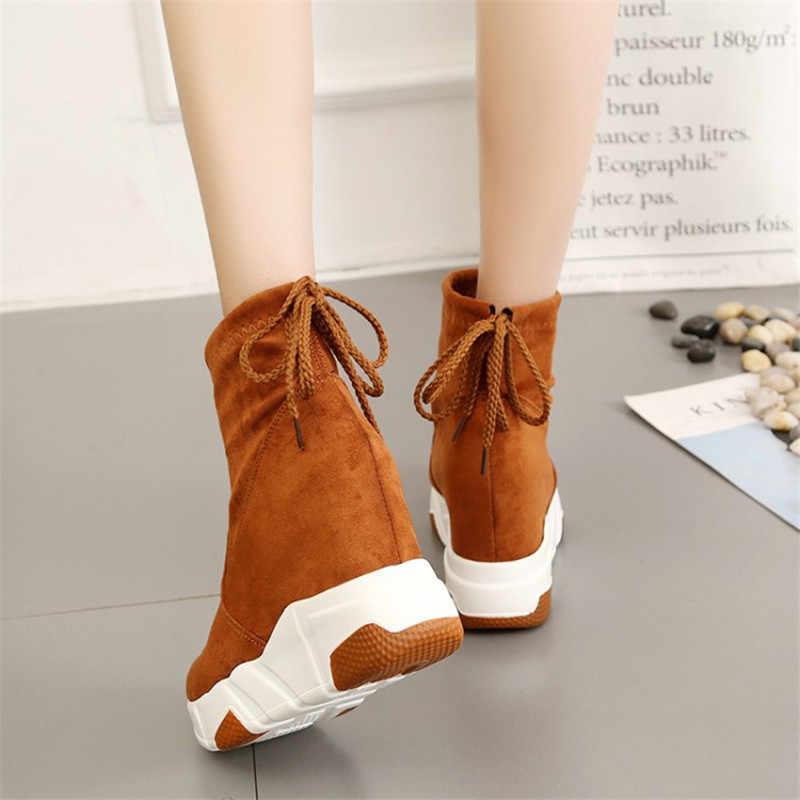 COOTELILI botas de tobillo para mujer zapatos de plataforma zapatos de tacón alto en el interior aumento de la altura botas de gamuza de encaje zapatillas 35- 39