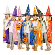 Boy Girl Kids Children Halloween Costumes Witch Wizard Cloak Gown Robe and Hat Cap Stars Fancy Cosplay for Boys Girls