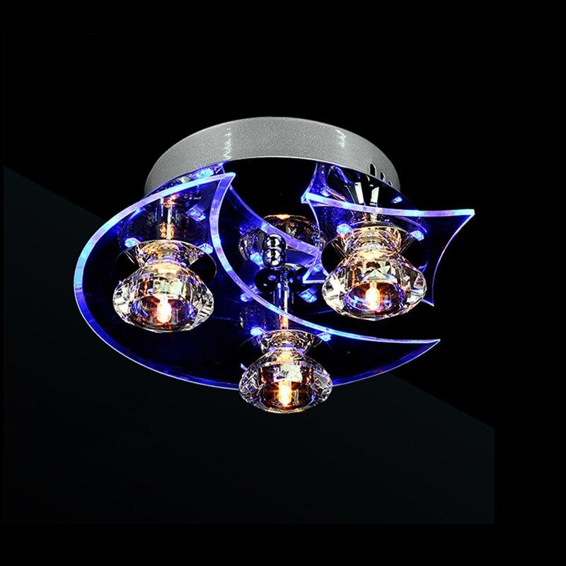 Freies Verschiffen Moderne Deckenleuchte 3 G4 Birnen Inbegriffen Kristall Edelstahl Bündig Montiert Lampe für Wohnzimmer Bettzimmer 9