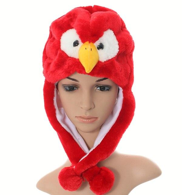 Douchow женские подростковые дети девочки мальчик мультфильм Eapflap животных шапки милый красный Орел плюшевые зимние теплые шапочки Кепка Косплей Подарки - Цвет: Красный