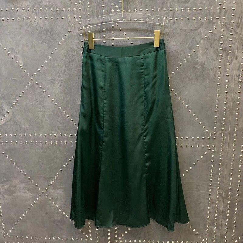 Haut Femmes Boutonnage Jupe De Sexy Double Longue Split Printemps Solide Décontractée Beige vert noir D'été rI1vZI