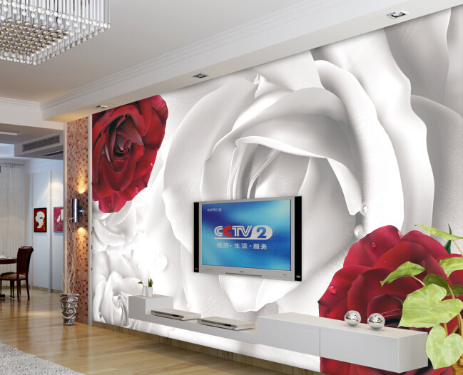 Custom red roses wallpaper, rose murals for the living room bedroom TV background wall waterproof embossed papel de parede купить