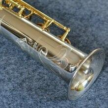 Новое поступление изысканный резьба Янагисава S-9030 сопрано B (B) саксофоны Посеребренная трубка позолоченный ключ Professional латунь Sax