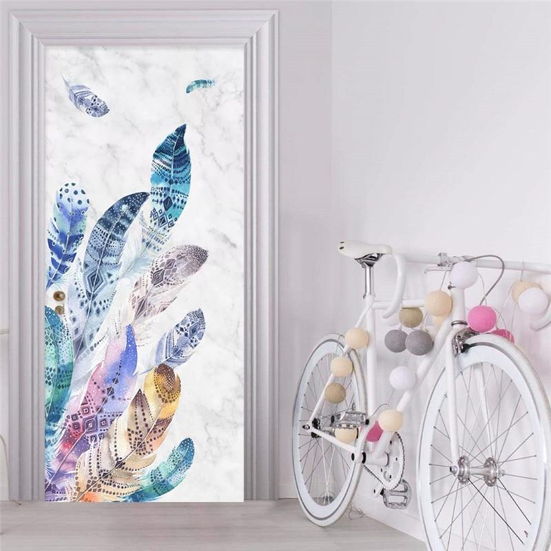 Permalink to Door Sticker 3D Abstract Watercolor Feather Marble Texture Wallpaper Living Room Bedroom Self-Adhesive Waterproof Wall Stickers