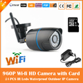 Hd 960 p bala câmera ip wifi motion detection cctv de vigilância de segurança impermeável ao ar livre mini cartão preto freeshipping